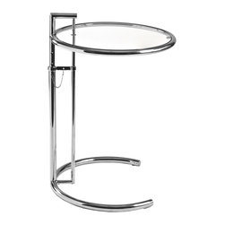Eurostyle - Eileen Gray Table-Temp - When you first glance at this innovative table, you might do a double take. From the illusion-inducing glass tabletop (yes, there is one) to the (nearly) circular base, it's almost what's not there that makes it all the more brilliant.