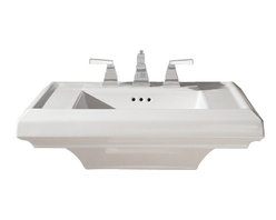 """American Standard - American Standard 0790.004.020 Town Square Sink Top, White - American Standard 0790.004.020 Town Square Sink Top, White. This pedestal top sink has a classic American design with it's clean straight lines and ogee curves. It comes ith a supplied mounting kit, a rear overflow, and a fireclay construction. This model comes with 4"""" centered faucet mounting hole, and it measures 24"""" by 20-1/4"""", with a 6-1/2"""" bowl depth."""