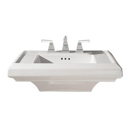 "American Standard - American Standard 0790.004.020 Town Square Sink Top, White - American Standard 0790.004.020 Town Square Sink Top, White. This pedestal top sink has a classic American design with it's clean straight lines and ogee curves. It comes ith a supplied mounting kit, a rear overflow, and a fireclay construction. This model comes with 4"" centered faucet mounting hole, and it measures 24"" by 20-1/4"", with a 6-1/2"" bowl depth."