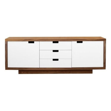 Gus Modern - Wilson Cabinet by Gus Modern - The Gus Modern Wilson Cabinet brings substantial modern style and storage to living rooms, bedrooms and dining rooms. It features a Walnut cabinet with three drawers and two doors in bright, contrasting White multi-coat lacquer. The drawers and doors are all smoothly self-closing, and the doors conceal two storage compartments with adjustable shelves. Mid-century modern design interpreted with an industrial edge. Such is the modis operandi of Gus* Modern. Every accessory, sofa, sectional, chair and table they design is inspired by simple forms and honest materials. The resulting modern furniture pieces are clean, elegant and versatile, with crisply tailored upholstery and solid, eco-friendly FSC-certified wood frames. Founded in 2000, Gus* Modern is based in Toronto, Ontario, Canada.
