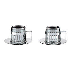 "Alessi - Alessi ""Ardt"" Mocha Cup Set - Curl up next to a warm fireplace with your special someone and toast over steamy mochas with this set of mirror-polished stainless steel cups and saucers. The heat-resistant glass core makes it perfect for any of your favorite warm beverages — from  toddies to cocoas."