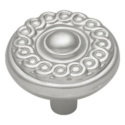 """Hickory Hardware - Silverado Satin Nickel Cabinet Knob, 1 1/4"""" - Often characterized with clean, sleek lines. Marked with solid colors, predominantly muted neutrals or bold bunches of color. An emphasis on basic shapes and forms."""