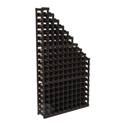 Wine Cellar Waterfall Display Kit in Pine with Black Stain - A beautiful cascading waterfall of wine bottle displays. Create a spectacle of 9 of your favorite vintages. Designed within our modular specifications and to Wine Racks America's superior product standards, you'll be satisfied. We guarantee it.