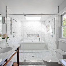 COCOCOZY: SMART DESIGN: A BATH TUB INSIDE A MARBLE SHOWER - OH WHAT A VERY WET R