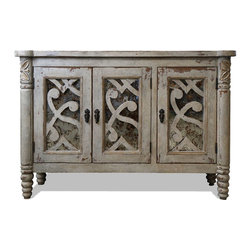 Sydnee Old World Sideboard, Antiqued Grays and Gold Leaf with Mirror - Sydnee Old World Sideboard, Antiqued Grays and Gold Leaf with Mirror