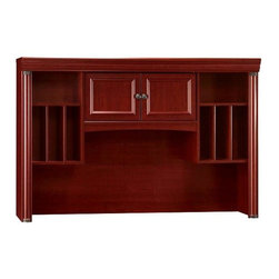 Bush - Storage Hutch for Credenza - Birmingham - This Birmingham Hutch nicely complements the matching Credenza.  You�۪ll forget they are two separate pieces as they blend perfectly into an elegant office solution.  The handsome Hutch features a large opening to accommodate your computer monitor as well as open storage areas.  Two doors conceal hidden storage area.  Birmingham hutch fits seamlessly above the matching credenza to create a complete workstation. * Roomy enough for large computer monitors. Open storage area for easy access. Concealed storage area. Harvest Cherry finish. Hutch: 60.59 in. W x 13.86 in. D x 40.47 in. H. Monitor Compartment: 28.87 in. W x 11.50 in. D x 24.00 in. HThe perfect complementary piece to the Birmingham Executive Collection Credenza (BUSH-Ex26603), this elegant Hutch has plenty of storage for the space-conscious professional.  With a center opening roomy enough for large computer monitors, open storage spaces for office supplies and additional concealed storage s spaces, this charming Hutch is nothing if not elegantly functional.