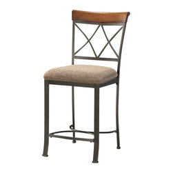 "Powell Furniture - Powell Furniture Hamilton Counter Stool - Powell Furniture - Bar Stools - 697430 - The Hamilton Counter Stool features a diamond shaped back and slight curved legs. The top of the back piece is a sleek ""brushed faux medium cherry"" wood, while the frame is a ""matte pewter and bronze"" metal. This piece is sure to add interest and extra seating to your table."