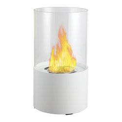 Moda Flame - Lit Table Top Firepit Bio-Ethanol Fireplace in White - The Lit Tabletop Bio Ethanol Fireplace is a stylish personal fireplace. It features a simple yet sleek design of a powder coated black base finish and a glass rounded panel that surrounds the flame. The Lit ethanol fireplace will sure surpass any candle with it beauty of ambiance of a real fire.