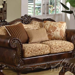 Acme Furniture - Remington Bonded Leather & Fabric Loveseat with 3 Pillows - 501 - Remington collection Loveseat