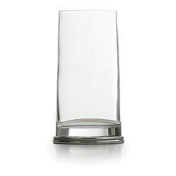 Milano Highball - Unusually shaped for a pleasing note of playful personality while keeping your look sophisticated and suave, the Milano Highball glass has the usual tall, cylindrical shape of this drinkware style, but tapers to a pewter oval at the base � handsome and distinctly European, but delightfully unconventional.  The glass and pewter in the vessel were handmade in Italy.
