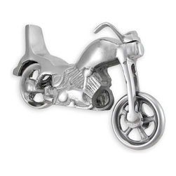 Zeckos - Cast Aluminum Motorcycle Sculpture Figurine - This attractive V-twin cruiser style motor bike was creatively sculpted of a die cast polished aluminum. With free spinning wheels and a working kick stand, you can cruise any time This beautiful piece would make an incredible focal piece on your desk, table or shelf. It measures 6.5 inches tall, 11 inches wide and 4 inches deep. This motorcycle sculpture also makes an incredible gift for motorcycle enthusiasts