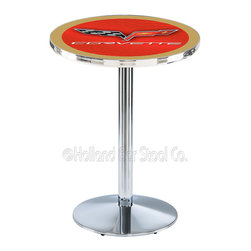 Holland Bar Stool - Holland Bar Stool L214 - Chrome Corvette - C6 Red Pub Table W/ Gold Accent - L214 - Chrome Corvette - C6 Red Pub Table W/ Gold Accent  belongs to General Motors Collection by Holland Bar Stool Made for the ultimate Corvette - C6 enthusiast, impress your buddies with this knockout from Holland Bar Stool. This L214 Corvette - C6 table with round base provides a commercial quality piece to for your Man Cave. You can't find a higher quality logo table on the market. The plating grade steel used to build the frame ensures it will withstand the abuse of the rowdiest of friends for years to come. The structure is triple chrome plated to ensure a rich, sleek, long lasting finish. If you're finishing your bar or game room, do it right with a table from Holland Bar Stool.  Pub Table (1)