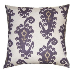 Squarefeathers - Heather, Ikat Pillow - Full of different shades of purple, the Heather pillow collection is eye catching and beautiful! Made of cotton with a knife edge trim. It has a soft and pump feataher/down insert inclosed with a zipper. Like all of our products, this pillow is handmade, made to order exclusively in our studio right here in the USA.