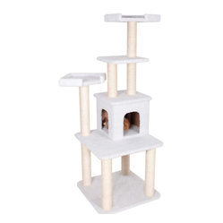 "MAJESTIC PET PRODUCTS - 64"" Casita Cat Tree - Every king needs a castle, a princess her palace. The same is true for a pet. This grand condo for your kitty features a dangling toy mouse, giving your fit feline a chance to brush up on their boxing skills, before fine-tuning their basking skills."