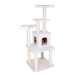 "Majestic Pet Products - 64"" Bungalow - Sherpa - Majestic Pet Products 64"" Casita Cat Tree is covered in honey colored Faux Fur with Sisal Rope wrapped posts, that will withstand the toughest of claws. This fun playground features a residence surrounded by multiple levels, and three perches for your cat to relax or play on. Our"" Casita Cat Tree assembles in minutes with simple step by step instructions and tools provided."