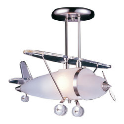 Elk Lighting - Elk Lighting 5051/1 1 Light Biplane Shape Pendant in Satin Nickel - 1 Light Biplane Shape Pendant in Satin Nickel belongs to Novelty Collection by Elk Lighting Fun For All Ages!  These Whimsical Lighting Fixtures Will Put A Smile On You Or Your Child's Face With A Myriad Of Shapes And Themes Meant To Stir The Imagination And Create A Lighthearted Environment.  Pendant (1)