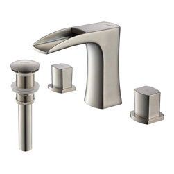 Rivuss - Rivuss Carrion Lead-Free Solid Brass Widespread Bathroom Faucet Brushed Nickel F - The Carrion Series is inspired by a river flowing out of the mountains in northern Spain. This brushed nickel piece will provide you the luxury of owning a faucet that fits seamlessly in your bathroom with an open top design that flows as if you were on t