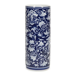 Tollmache Umbrella Holder - In a style reminiscent of New Burleigh and antique transferware, the Tollmache umbrella holder has a subtle, sophisticated oriental inspiration mixed with modern technique that makes it a one of a kind accent for any home.