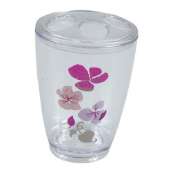 Printed Acrylic Toothbrush Holder Softies Purple - This printed toothbrush holder Softies for bathrooms is in clear acrylic with a flower pattern. This toothbrush holder is a lovely accent for any bathroom and its shape is flared upward with a diameter of 2.95-Inch and a height of 4.52-Inch and has four slots for toothbrushes and toothpaste. Wipe clean with a damp cloth. Color purple and pink. Accessorize your bathroom countertop in a trendy style with this charming toothbrush holder! Complete your Softies decoration with other products of the same collection. Imported.