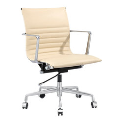 MEELANO - M347 Office Chair in Beige Italian Leather - Swivel, roll and lift up and down as you please. You are the boss of the office and the world. Fabricated with fine leather, you will look fabulous in this executive, management office chair.
