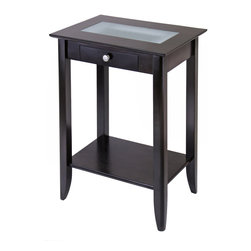 Winsomewood - Syrah Phone Stand with Frosted Glass - This solid wood accent table with drawer makes an unused corner useful. It can hold flowers, a vase or any collectible. It's affordable and beautiful. You get a lot for a little.