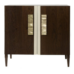 "Lisa Jarvis - Lisa Jarvis Empire Chest - The stunning Lisa Jarvis Empire chest reinvents mid-century modern distinction. Atop retro wooden feet, its refined form features golden brass pulls for metallic flair. 36""W x 20""D x 30""H; Solid wood with minimum veneer; Chest opens to reveal 3 soft closure drawers with undermount slides"