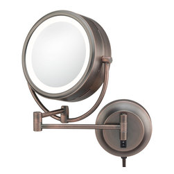 "NeoModern LED Lighted MIrror - This modern yet traditional style mirror is a great addition to any style bathroom. Its 1x/5x magnification 9"" mirror, are surrounded by a low energy virtually maintenance free LED light. It rests on a 16 ¼"" extension, making it easier to use.  Plug-in & hard-wired versions available in four finishes."
