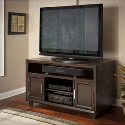 Bush - Bush Furniture Clifton Collection TV Stand - This contemporary TV stand,designed by Brush Furniture,supports TVs up to 52 inches and a soundbar. Its two cabinets make it easy to store video games,movies,and other accessories,and the two open compartments are great for various consoles.