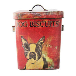 """Distressed Dog Treat Tin - This adorable dog treat tin canister, which has been aged and distressed resulting in a beautiful patina, features a Boston Terrier on the front with handled sides and aluminum gasket lids. A perfect vintage style display piece for hiding your dog's treats or small toys. Measures 7""""W x 6""""D x 9""""H"""