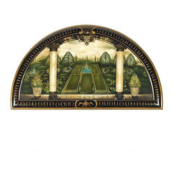 """EttansPalace - 36""""W Classic Italian Home Garden Wall Decor - With each and every stroke authentically painted atop solid wood just for you, this time-honored, trompe loil-style lunette gives any room an Italian garden view! Our exclusive is created with a detailed 12-step process that requires three days of hand-painting by skilled artisans who overlay its rich colors with faux gilding for the perfect finish. Our three-foot-wide original work of decorative art is a true statement piece."""