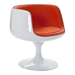 "LexMod - Cup Dining Armchair in Orange - Cup Dining Armchair in Orange - Contain far-reaching motivations in one single enclosure. With its open front and insulated fiberglass casing, the Cup Chair is a cache of stable exuberance made public. Give an appreciative tone to your room with a piece that fosters gratitude and comfort. Set Includes: One - Cup Chair Modern classic design, Lined vinyl interior, Durable Fiberglass Plastic, Flowing pedestal stand Overall Product Dimensions: 25""L x 25""W x 25""H Seat Height: 17""H Armrest Height: 27""H - Mid Century Modern Furniture."