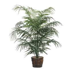 Vickerman - 5' Dwarf Palm Extra Full - 5' Dwarf Palm Extra Full Two or more Dwarf palms, Dark brown Rattan container. American made excelsior