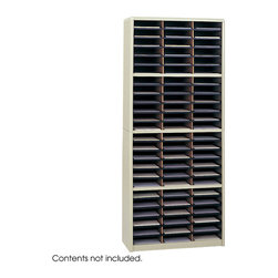 """Safco - Value Sorter Literature Organizer, 72 Compartment - Sand - Value Organization! To organize effectively you need the right tools for the right space. The Value Sorter will improve neatness and is a great addition to any mail room, office, school or store. Use compartments as a mailbox, material holder or stationary sorter. The steel shell comes complete with support shelves and a solid fiberboard back to ensure stability and durability. Compartments are formed with heavy-duty corrugated fiberboard. Unit has over-sized compartments that comfortably hold up to 550 sheets of letter-size paper. Compartments are wide enough to easily accommodate letter-size file folders. Wide shelf fronts have built-in label holders (labels included).; Features: Material: Steel (shell, support shelves), Corrugated Fiberboard (shelves); Color: Sand; Finished Product Weight: 59 lbs.; Assembly Required: Yes; Tools Required: Yes; Limited Lifetime Warranty; Dimensions: 32 1/4""""W x 13 1/2""""D x 75""""H"""