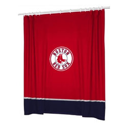 Sports Coverage - MLB Boston Red Sox Sidelines Shower Curtain - Spruce up your Bathroom and show your MLB spirit with this Boston Red Sox Sidelines Shower Curtain from Sports Coverage! Featuring 100% Polyester Jersey with screenprinted logo. It measures 72 x 72.