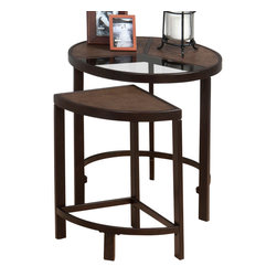 Jofran - Jofran 506-7 Roswell Glass Nesting Tables in Synthetic Stone and Steel - Style your home with this beautiful collection. The unique stone and steel finish is sure to show off your homes individuality and nesting tables that are high on style and take up little space due to the versatile design. With durable construction you are sure to enjoy this collection for years to come.