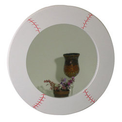 Baseball Design Round Mirror - I'd put this mirror in a kid's bathroom.