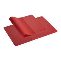 Meyer - Cake Boss Red 2-Piece Set of Silicone Baking Mats - Line up easy and enjoyable baking results with these flexible silicone mats. There's no need for aerosol sprays, pan greasing, or parchment paper, and each mat features convenient measurement markings to take the guesswork out of baking.