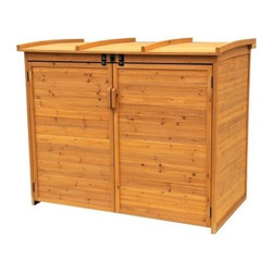 Leisure Season Large Horizontal Refuse Storage Shed - The Leisure Season Large Horizontal Refuse Storage Shed features lockable doors and lid to banish critters and keep all of your household waste containers tidy and out of sight. With plenty of space to hold trash, recycling, and compost, this handsomely finished waste organizer is made of fir. Like cedar, fir is in the cypress family and boasts superior resistance to decay. You'll appreciate the tongue and groove construction and hardware that's tough enough for the outdoors. Further reinforcement comes from the corner braces that enhance structural integrity. Leisure Season knows you'll most likely have only one free hand when approaching this shed to make a deposit, so they've designed the lid for easy one-handed operation, with a pneumatic mechanism to keep the lid up for you. Floorless design makes it easy to roll bins in and out. It's finished with a medium brown stain and protective finish coat to resist all types of weather. Designed for all-season use, the curved lid sheds snow and ice to prevent accumulation.About Leisure Season Leisure Season Ltd. is a premier manufacturer specializing in unique home and garden products. With more than 30 years of industry experience, they have established a high standard of workmanship at affordable prices. This is accomplished with smart design that you can depend on, creating attractive multifunctional pieces that will last. Quality design begins, of course, with quality materials. Part of the Cypress family, the China fir that is used to make Leisure Season's outdoor furniture, outdoor leisure products, and outdoor storage is noted for its rich grain, texture, and color as well as for its natural resistance to decay and insects. So whether your outdoor furnishings tend toward the rustic, the traditional, or the postmodern, these versatile pieces will reflect your good taste and will complement the look of your home and garden.