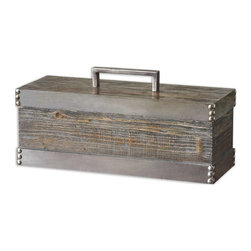 Uttermost - Uttermost Lican Box - 19669 - -Natural wood box with a light chestnut stain and antiqued silver accents