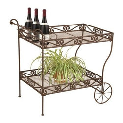 Deer Park Ironworks Imperial Serving Cart - The style of the Deer Park Ironworks Imperial Serving Cart has been a welcome addition to charming homes for years, so we can only assume that it's going to stay that way for years to come. This convenient accessory has a body that's crafted from heavy gauge steel with an upper and lower shelf. Each shelf has a mesh top that's easy to clean and allows for easy drainage if your plants will be calling this piece home. The steel body is given an all-weather, powder-coat finish that not only gives it the look of well-worn and weathered metal, but it also adds extra protection against corrosion and the elements. Large rolling wheels let you move this cart to where it's needed most, and protective rubber feet won't mar your indoor or outdoor surfaces.About Deer Park Ironworks, LLCYou'll immediately recognize a yard that's been appointed with pieces from Deer Park, thanks to the classic wrought iron designs and traditional finish that has made them an power player in the outdoor furniture industry. Dedicated to creating value for their customers with durable, quality pieces of functional and ornamental wrought iron, Deer Park continues to provide timeless designs while never sacrificing customer service and satisfaction as their pursue their corporate goals.