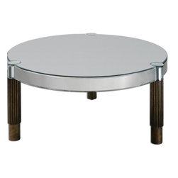 Uttermost - Uttermost Eleni Mirrored Coffee Table X-59342 - Mirrored table with arced mirror curved around the apron and tops of the antiqued bronze, gear motif legs.