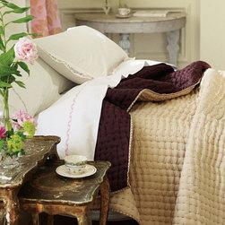 Designers Guild - Chenevard Natural & Hazel Reversible Silk Quilt - Chenevard Natural & Hazel Reversible Silk Quilt