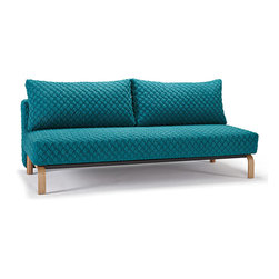 """Innovation"" Sly Coz Petrol Sofa Bed / Lacquered Oak Legs - Features:"