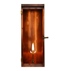 "The CopperSmith - Luna Gas Lantern by The CopperSmith , 22"" X 8"", Natural Gas - A striking contemporary design, with it's unique curved back and profile Luna is a show stopper.  Available in Natural Gas or Propane.  Antique Copper Finish with tempered glass. 18"" or 22"".  See Luna Electric for electric companion lights."