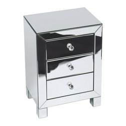 Avenue Six - Avenue Six Reflections Accent Table in Silver Mirror Finish - Avenue Six - Accent Tables - REF173SLV - Enjoy contemporary design with this attractive mirrored 3 drawer accent table featuring 3 slide out drawers with crystal handles. A valuable addition to any room, this accent table will be the focal point of any space. Brighten up your day instantly with Reflections 3 Drawer Accent Table.