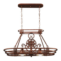 Kenroy - Kenroy KR-90304-GC Dorado Transitional Light Pot Rack - Medusa offers an elegant look with unique details.  Decorative accents adorn the edges of the backplates, while curved arms extend past the cups giving the Medusa family a personality all its own.  *Sconce and Vanities Can Mount Up or Down
