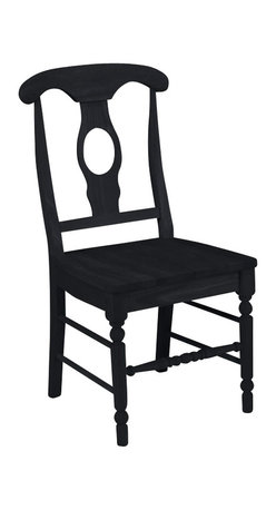 International Concepts - International Concepts Empire Wood Side Chair in Black Finish (Set of Two) - International Concepts -Dining Chairs -C461202P -The 'Empire Side Chair' from International Concepts is suitable in mood and style with any Early American or Farmhouse style dining tables. It features a cozily shaped wood seat and a decorative wood back with a carved opening in the middle. It stands on the signature spindle style legs with the decorative stretchers and turnings.
