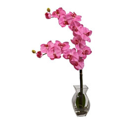 Phalaenopsis Orchid with Vase Arrangement - Sometimes, all you need is a simple orchid to make a decorative statement. That's exactly what happens with our Phalenopsis. With its rigid, straight stalks that gives way to gentle, curving blooms, this perfect recreation brings to mind a whimsical feeling that few flowers can elicit. This delicate beauty comes complete with a glass vase, faux water, and a perfectly reproduced root area. Height= 24 In. x Width= 12 In. x Depth= 5 In.