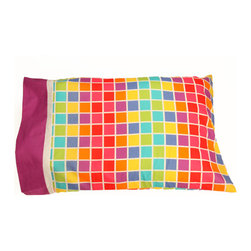 """Terrific Tie Dye - Standard Pillowcase - Don�t forget these fun pillowcases!  Standard pillowcase is designed in """"Tie Dye Rows"""" with hem and trim in white and purple cotton print fabric."""