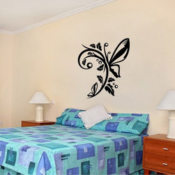 StickONmania - Butterfly Plant Design #9 Sticker - A cool vinyl decal wall art decoration for your home  Decorate your home with original vinyl decals made to order in our shop located in the USA. We only use the best equipment and materials to guarantee the everlasting quality of each vinyl sticker. Our original wall art design stickers are easy to apply on most flat surfaces, including slightly textured walls, windows, mirrors, or any smooth surface. Some wall decals may come in multiple pieces due to the size of the design, different sizes of most of our vinyl stickers are available, please message us for a quote. Interior wall decor stickers come with a MATTE finish that is easier to remove from painted surfaces but Exterior stickers for cars,  bathrooms and refrigerators come with a stickier GLOSSY finish that can also be used for exterior purposes. We DO NOT recommend using glossy finish stickers on walls. All of our Vinyl wall decals are removable but not re-positionable, simply peel and stick, no glue or chemicals needed. Our decals always come with instructions and if you order from Houzz we will always add a small thank you gift.